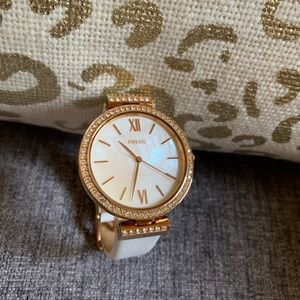 Fossil watch in Rose gold with crystal accents
